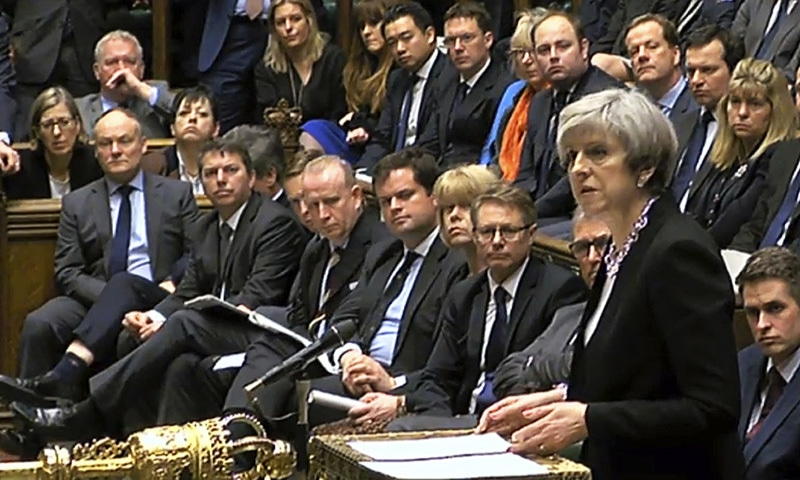 Britain's Prime Minister Theresa May speaks in the Houses of Parliament, Thursday March 23, following the attack in London Wednesday. ─ AP
