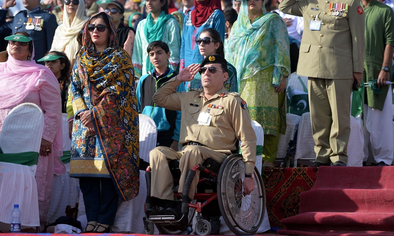 A Pakistani military officer salutes during a Pakistan Day military parade.─AFP