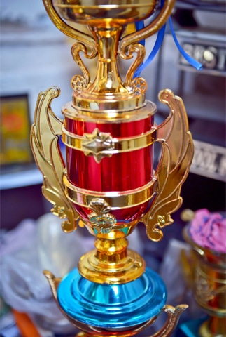 A big trophy for a big winner and sporting trophies, which may become mantelpieces someday | Photos by Fahim Siddiqi/White Star