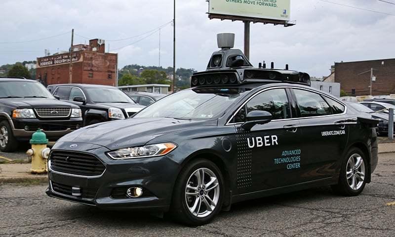 A self driving Uber car.—AP/File