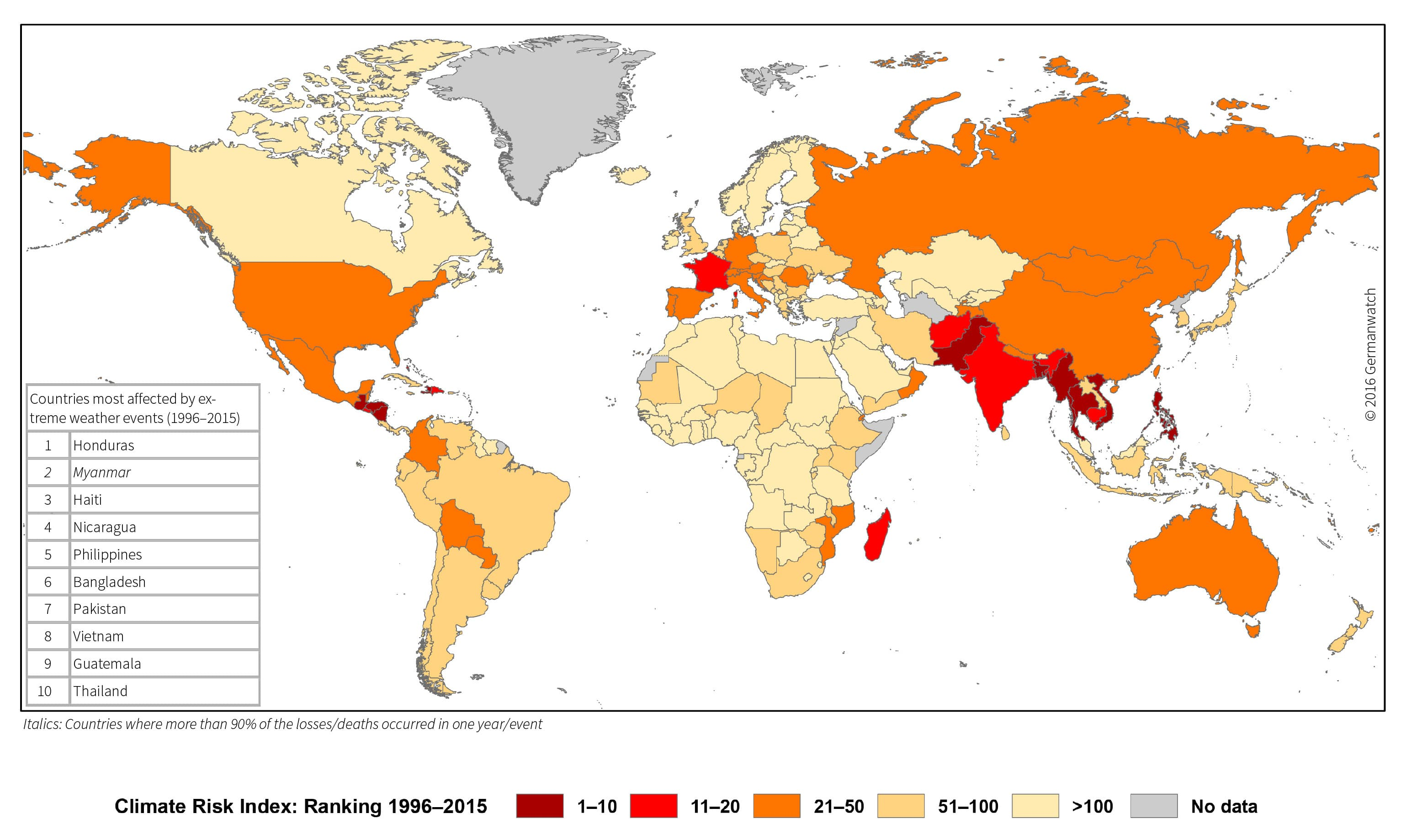 *World Map of the Global Climate Risk Index 1996–2015. Courtesy – Global Climate Risk Index 2017*