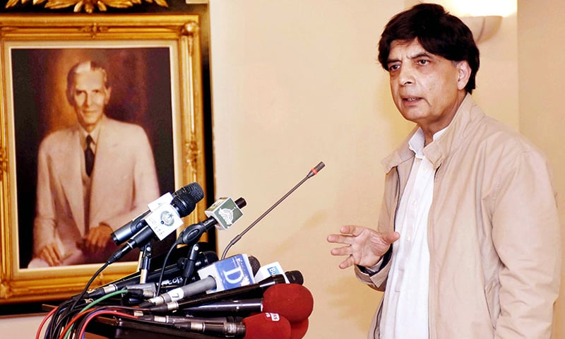 Interior Minister Chaudhry Nisar Ali Khan addresses a news conference held at Punjab House in Islamabad on  Tuesday.— APP