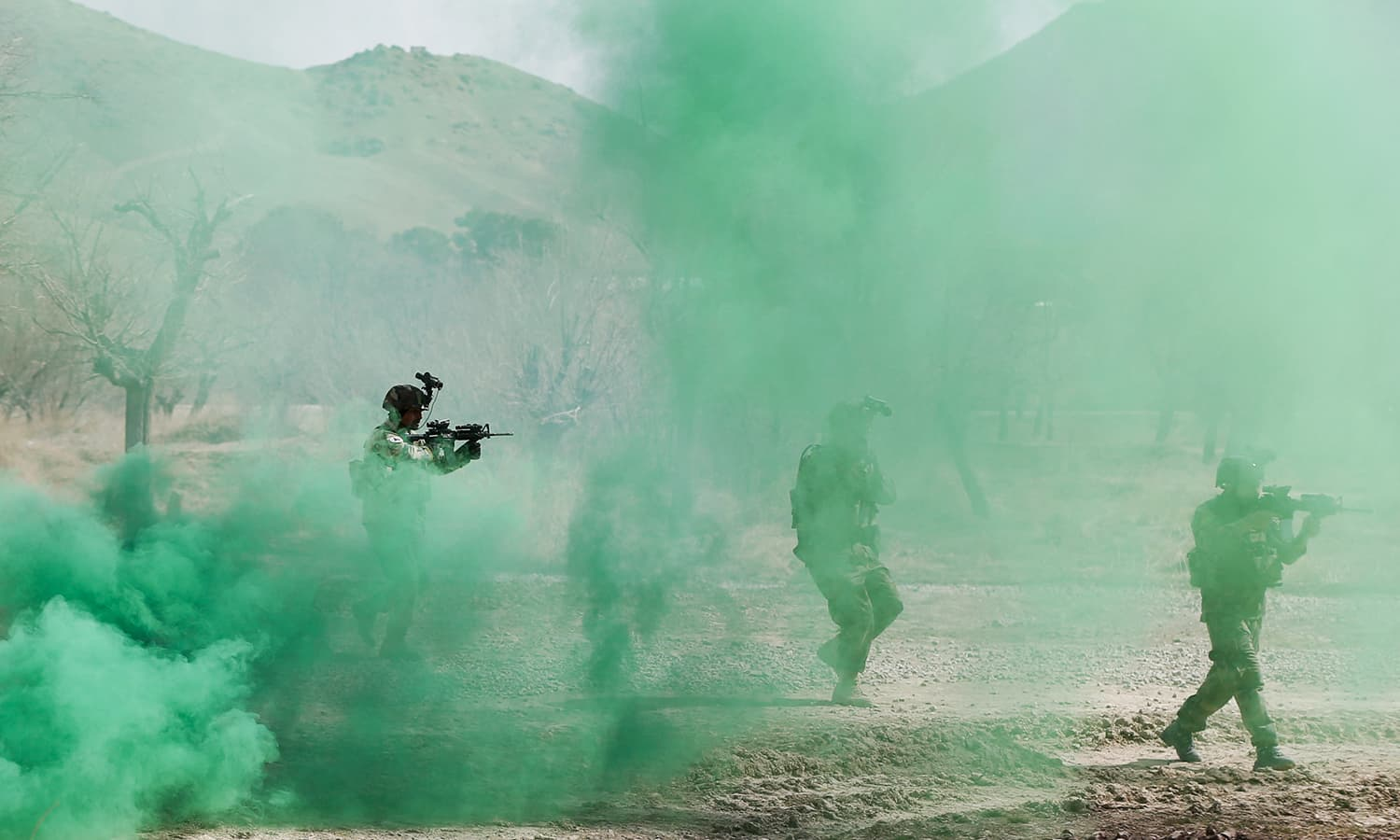 Afghan army Special Forces take part in a military exercise in Rishkhur. —Reuters