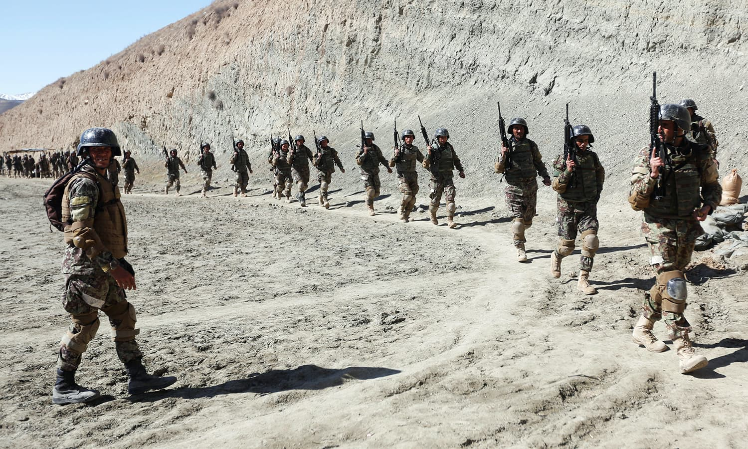 New recruits to the Afghan army Special Forces take part in a military exercise in Rishkhur. —Reuters