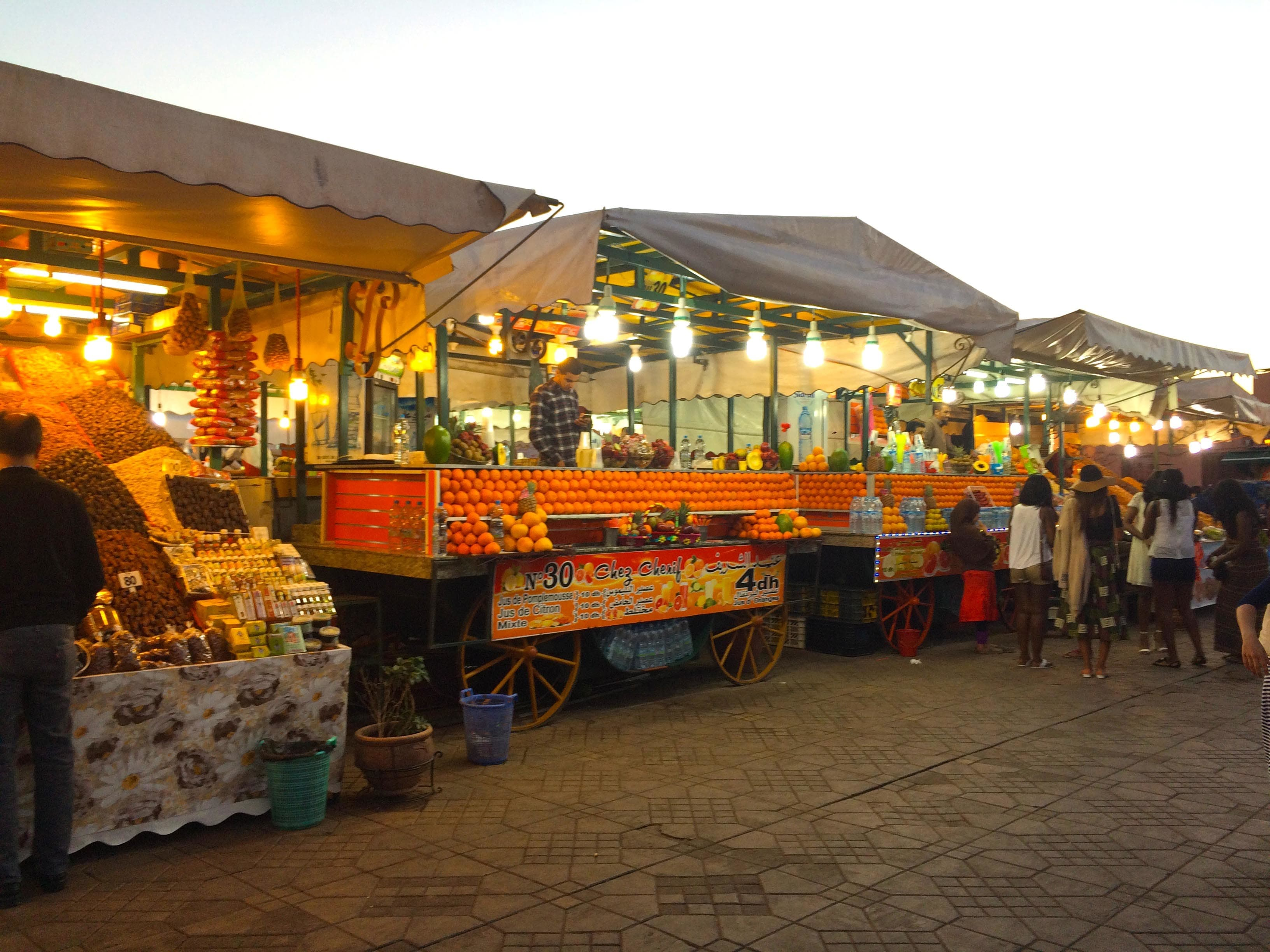 Fresh orange juice stalls at the Jemaa El Fna Square.