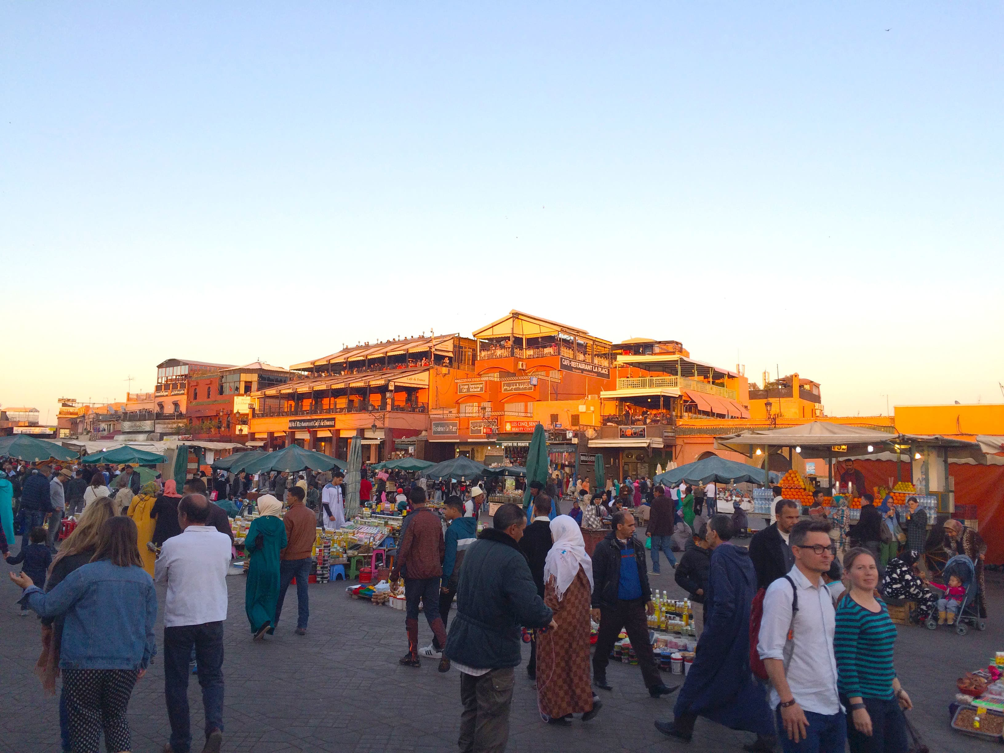 Jemaa El Fna market being set up in the evening.