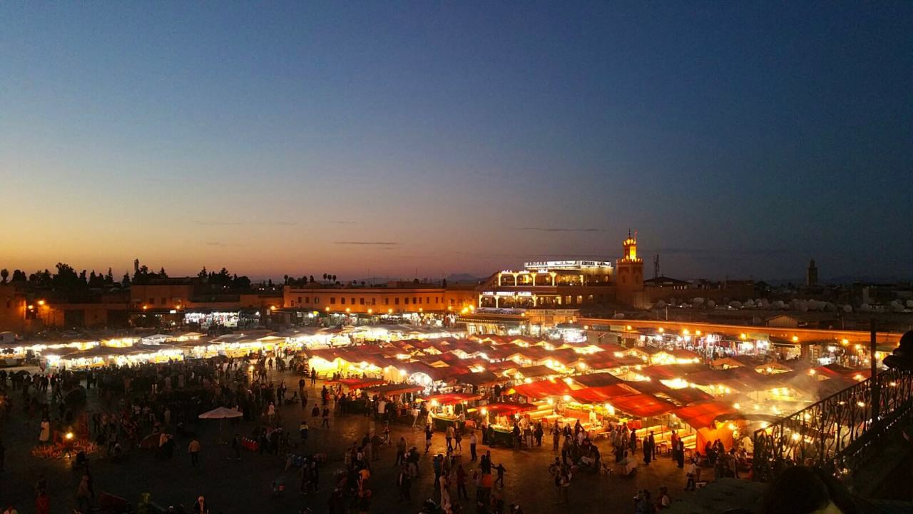 A view of Jemaa el Fnaa in the evening.
