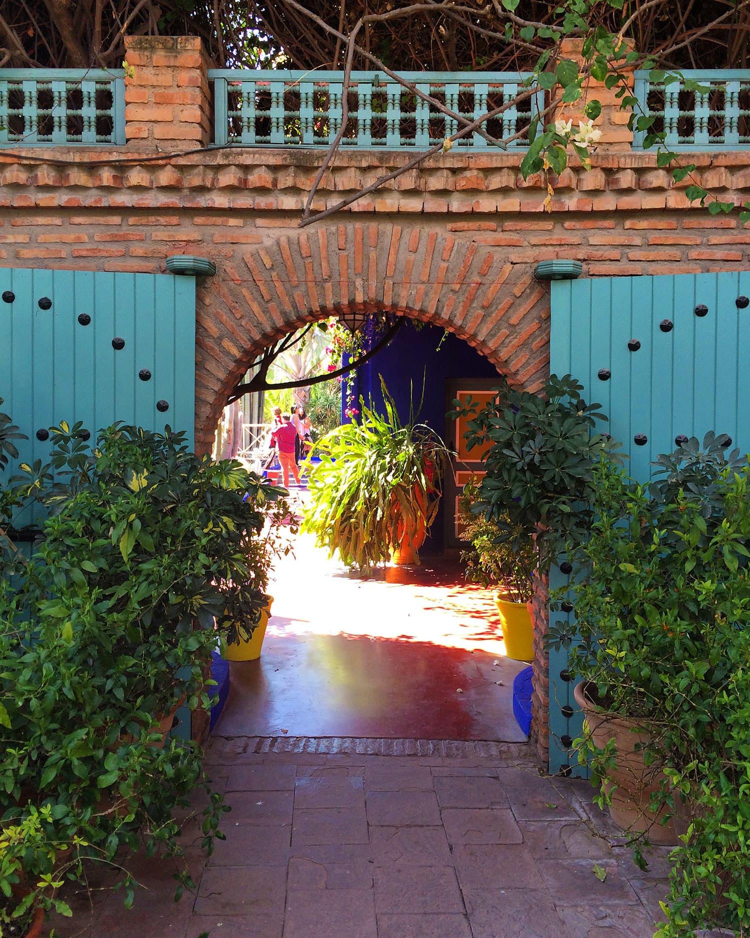 The entrance of the cafe at Jardin Majorelle.