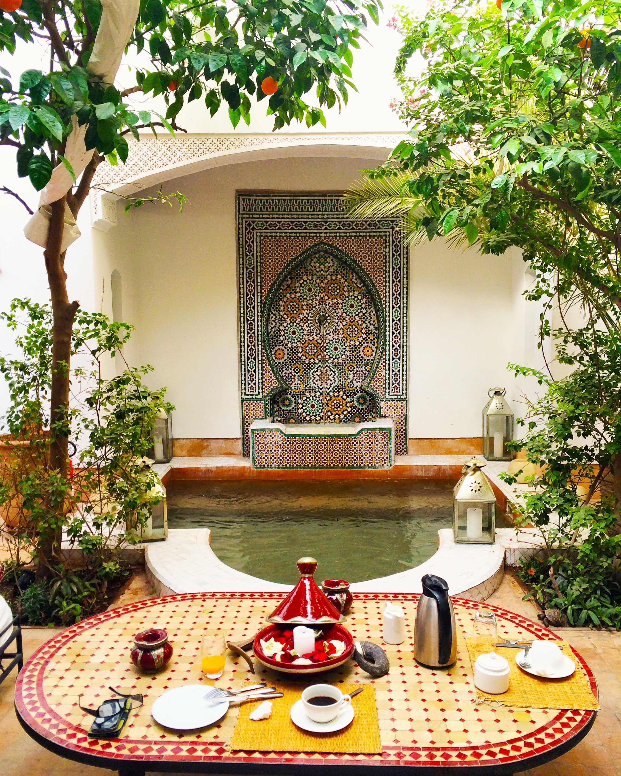 The dining area in Riad Karmela.