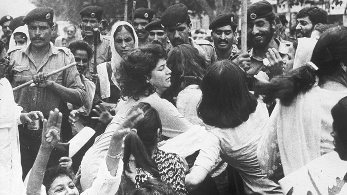 A WAF rally being brutally dispersed in Lahore, 1983
