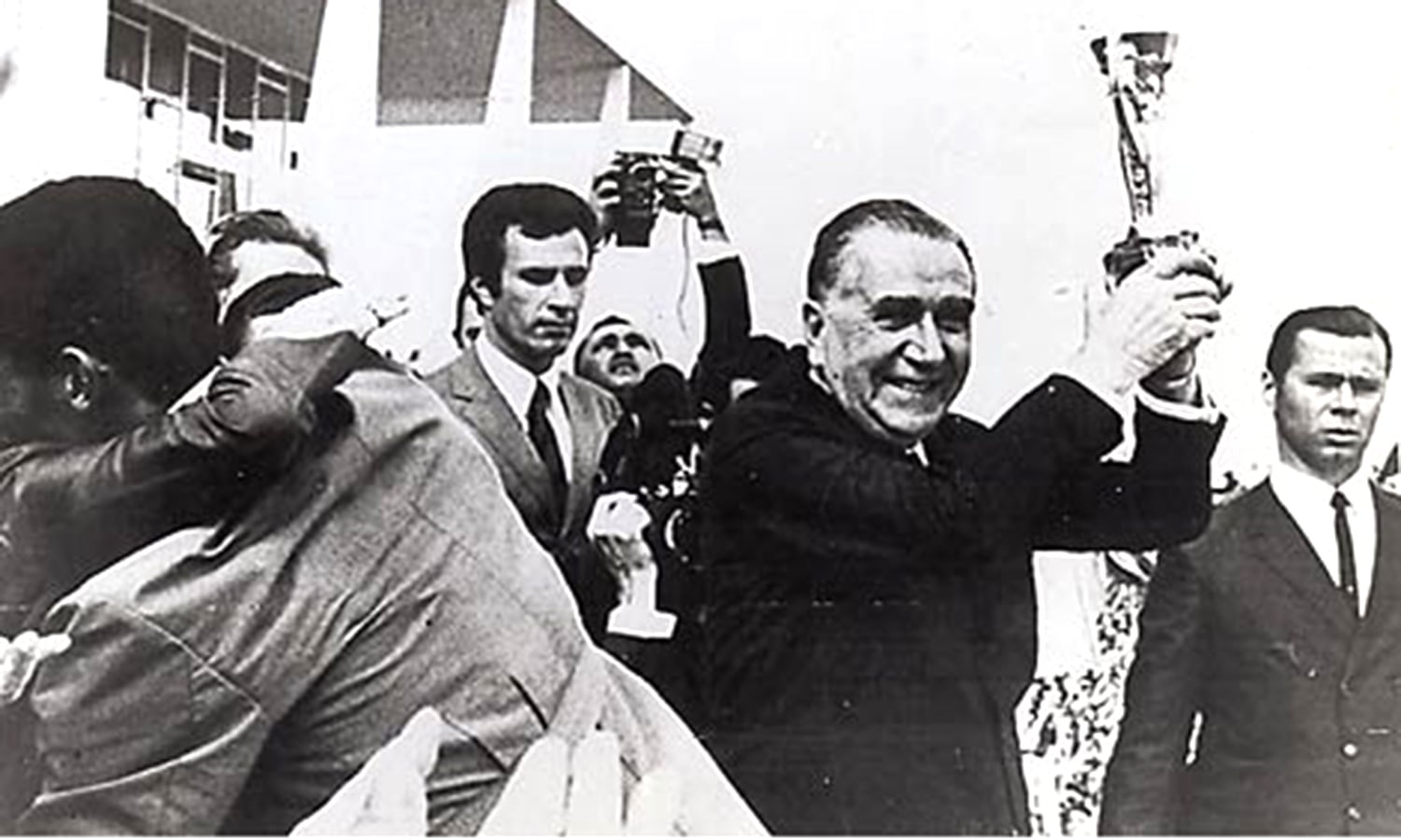 Brazilian dictator Medici celebrates the 1970 world cup victory. He called it the regeneration of Brazilian nationalism and unity. -- Photo: TIME
