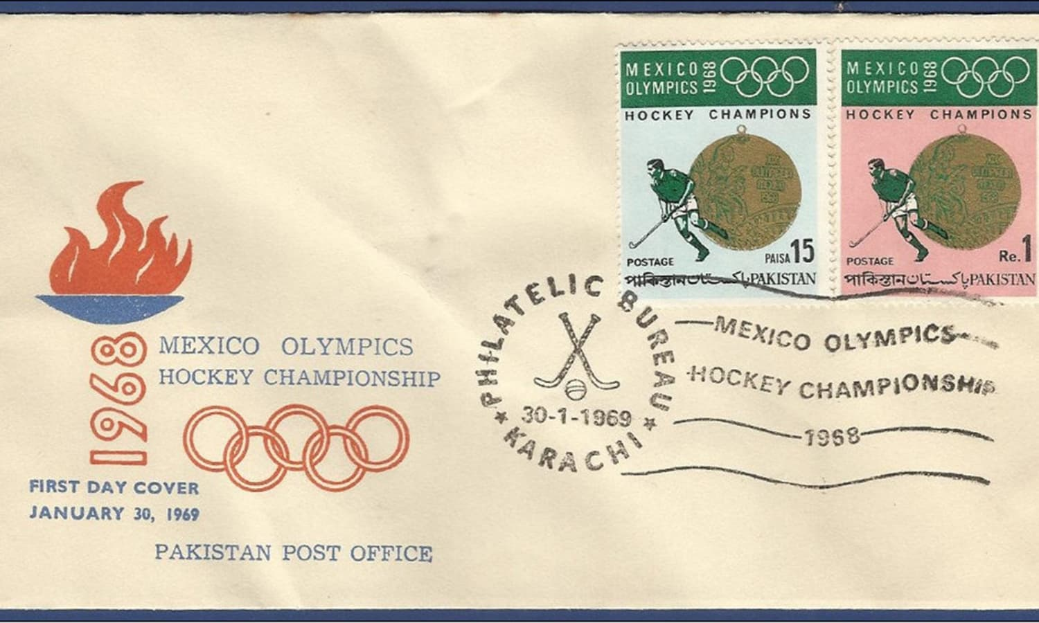Special envelop and stamp which was issued after Pakistan's win in the 1968 Olympic hockey final. -- Photo: Umer Farooq