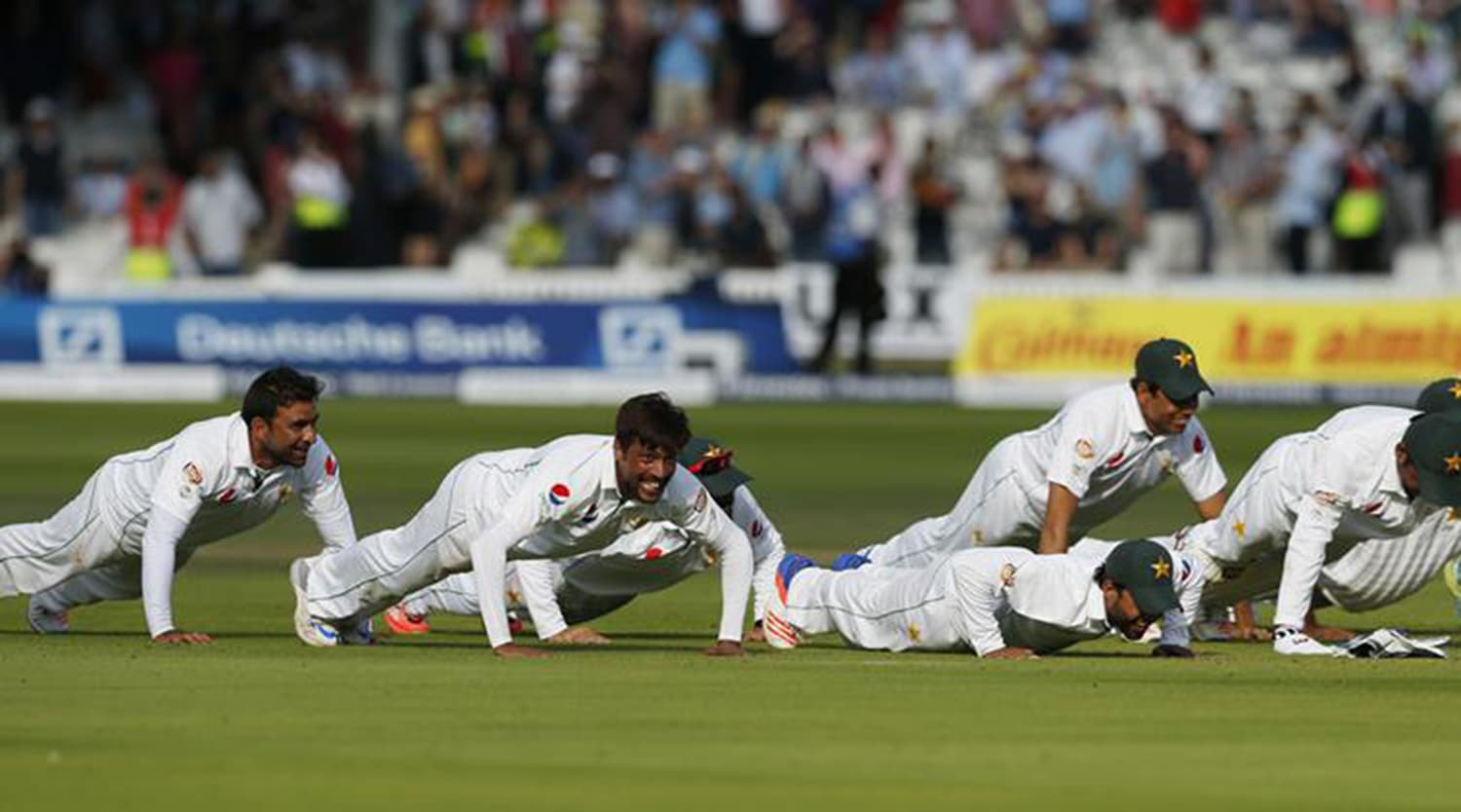 The push-ups at Lords reinforced Pakistan cricket's role in the country's evolving nationalist ethos. -- Photo: Indian Express