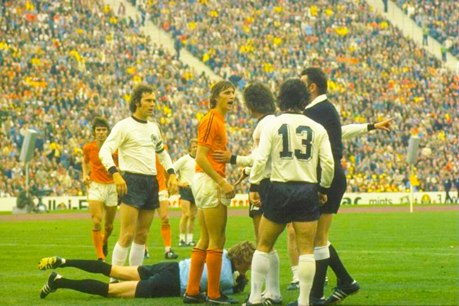 Dutch and German players embroiled in an argument during the 1974 final.