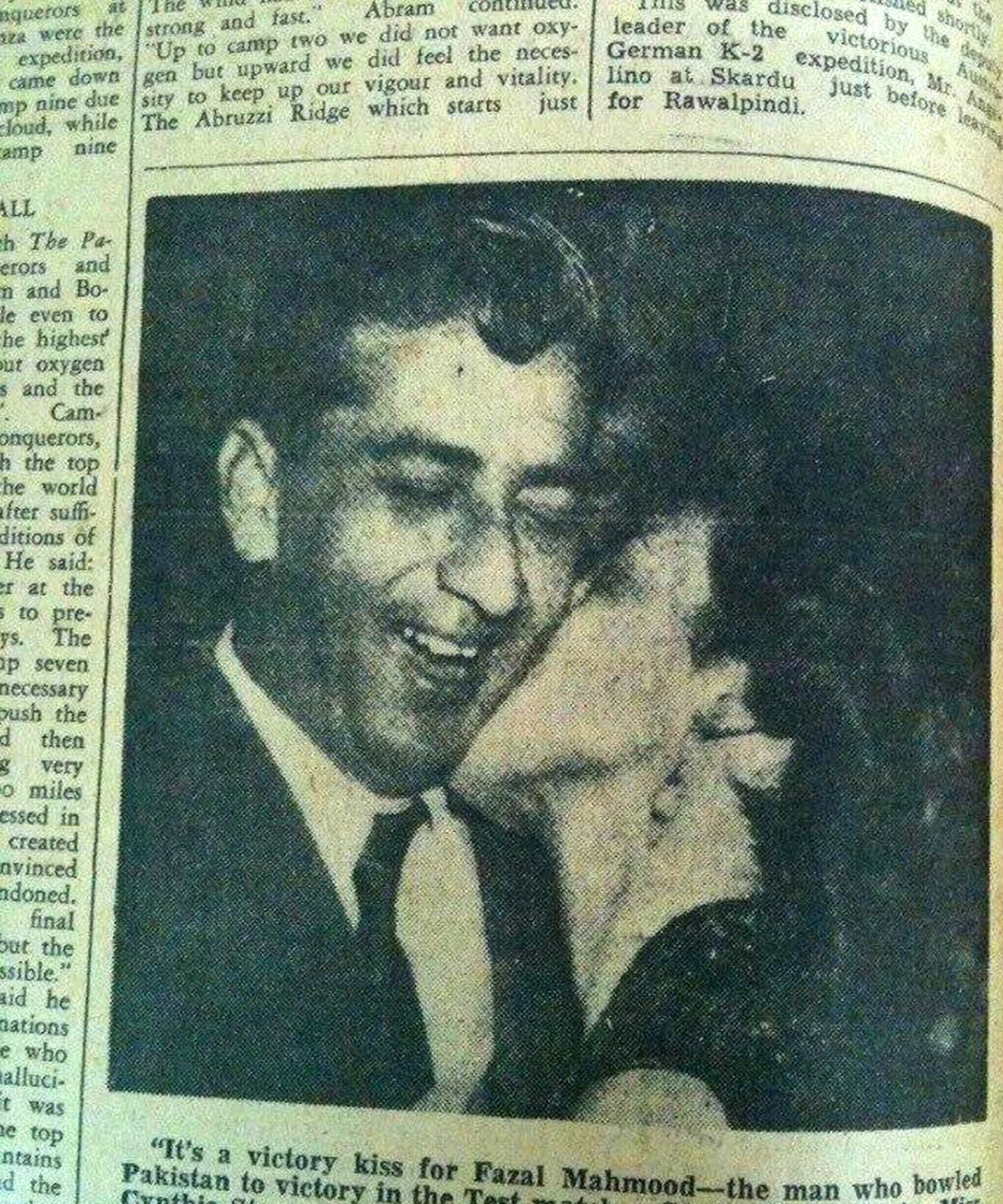 A female fan kisses Pakistan swing bowler Fazal Mehmood, the architect of Pakistan's 1954 Test win against England. -- Photo: Pakistan Times