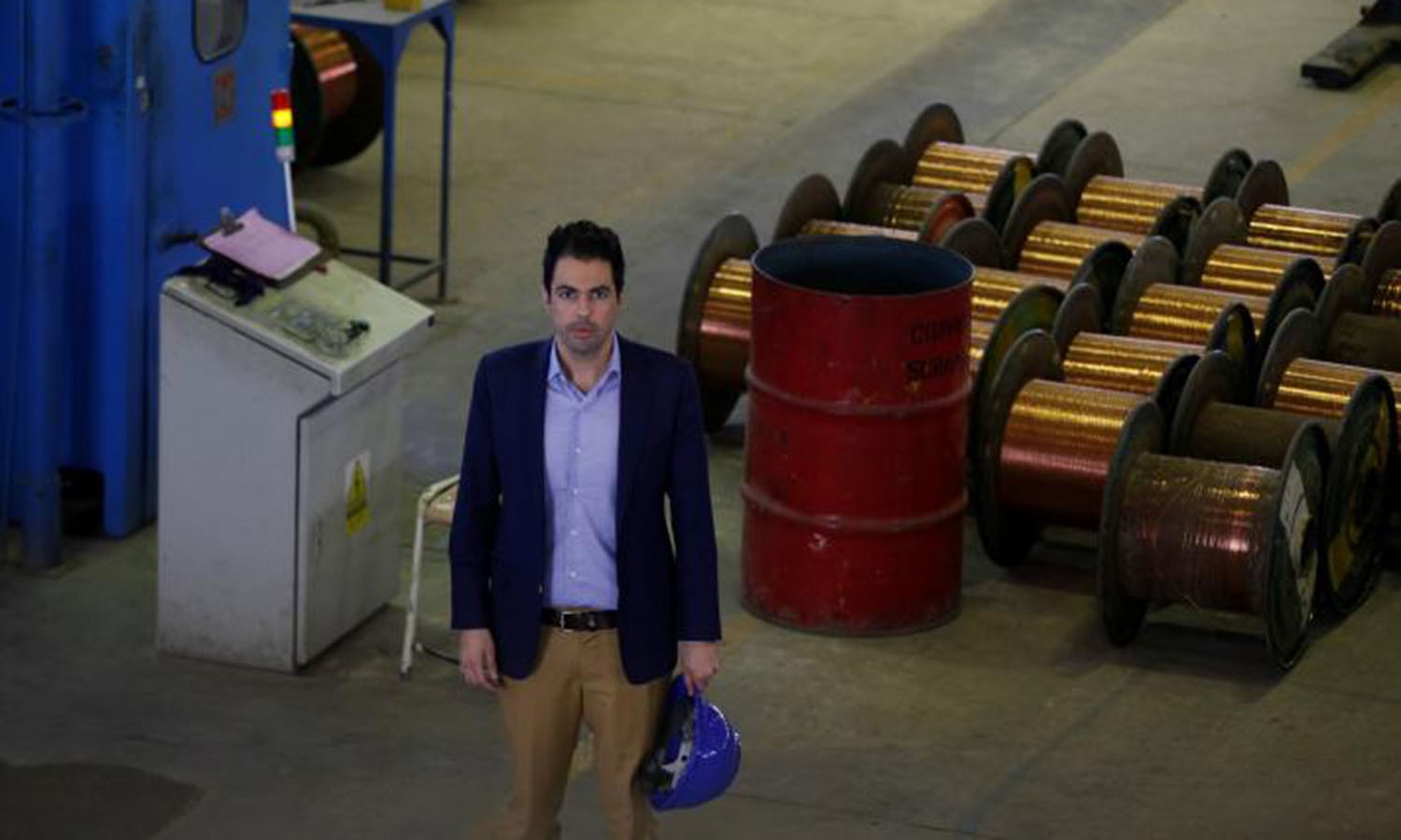 Fahd Chinoy, general manager sales & marketing of Pakistan Cables, poses during an interview with Reuters at plant in Karachi.─Reuters