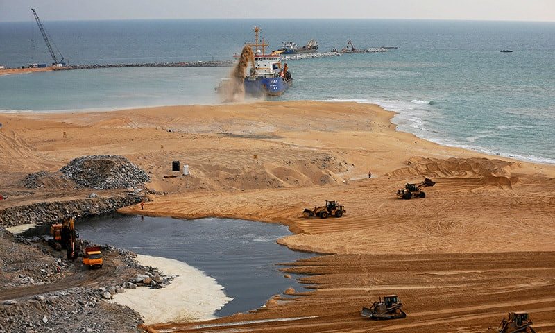 "Sand is dredged from the sea at ""Colombo Port City"" construction site in Colombo, Sri Lanka March 30.— Reuters"