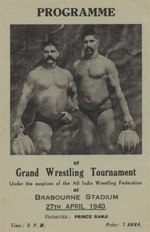 A wrestling match poster from  1940 featuring Gama Pehlwan (left) and Imam Bakhsh Pehlwan