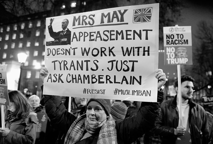 February 4, 2017: Thousands gather in London to demand that PM Theresa May cancel an invitation extended to US President Donald Trump for an official state visit.
