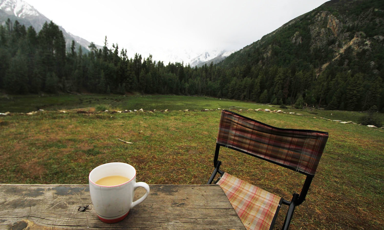 Chai in the Fairy Meadows of Gilgit-Baltistan.─Photo by author