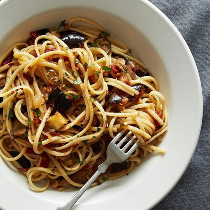 Pasta with eggplant and zucchini. Photo: food52.com