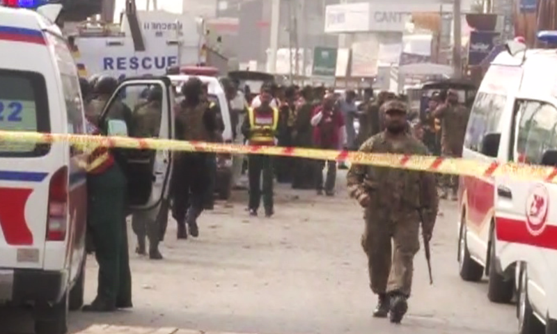 Ambulances are seen at the site of the blast.— DawnNews