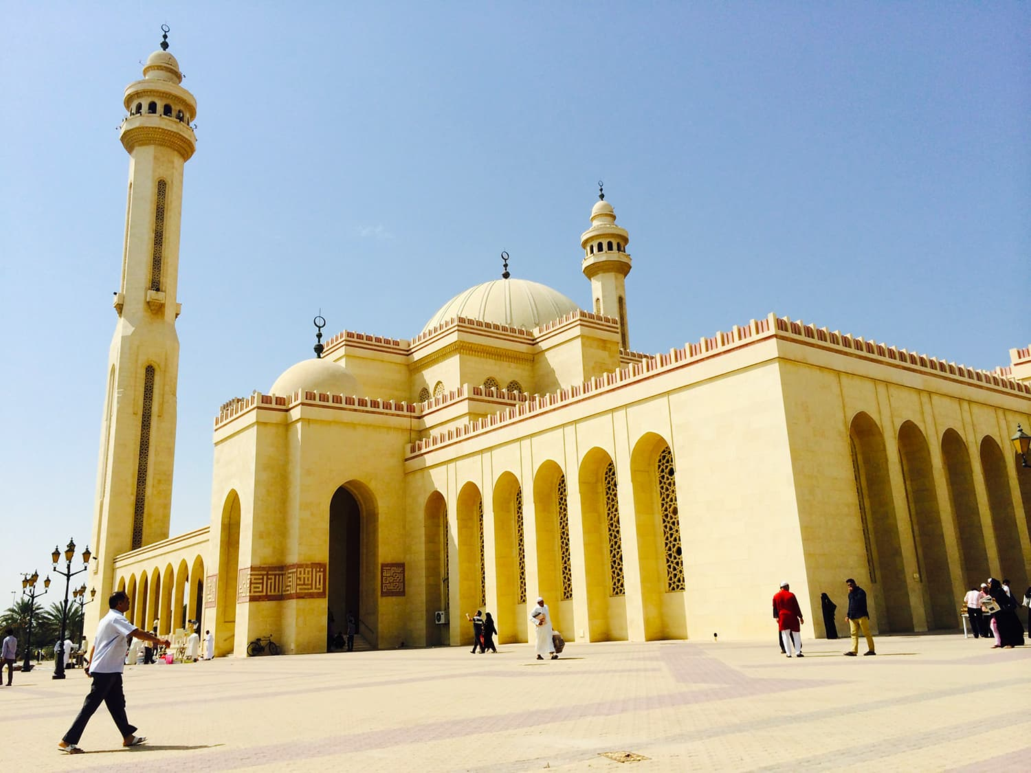 The Al Fateh Grand Mosque from the outside.