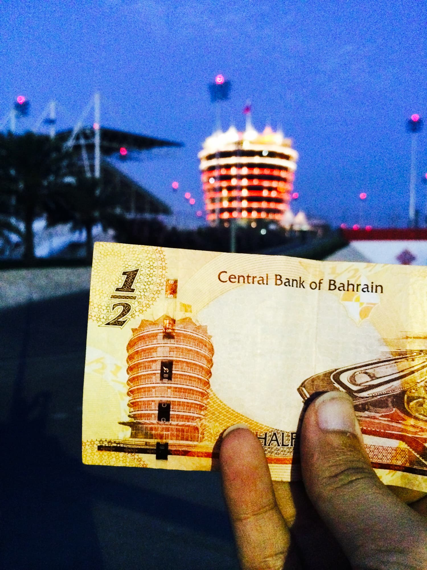 The F1 circuit as seen on the back of the half Dinar banknote of Bahrain.