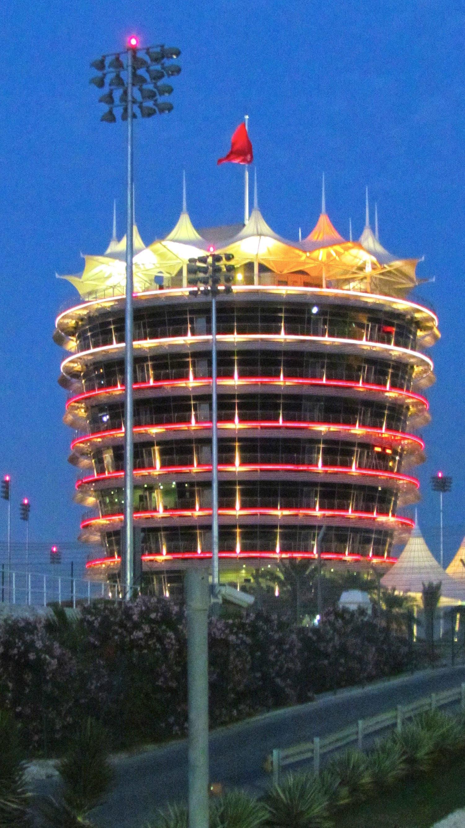 The iconic Sakhir Tower at the Bahrain Grand Prix circuit.