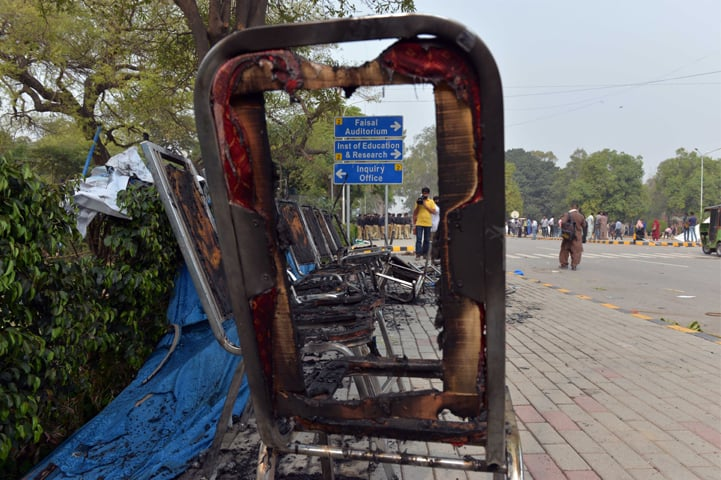 Chairs torched during the fracas on March 21, 2017