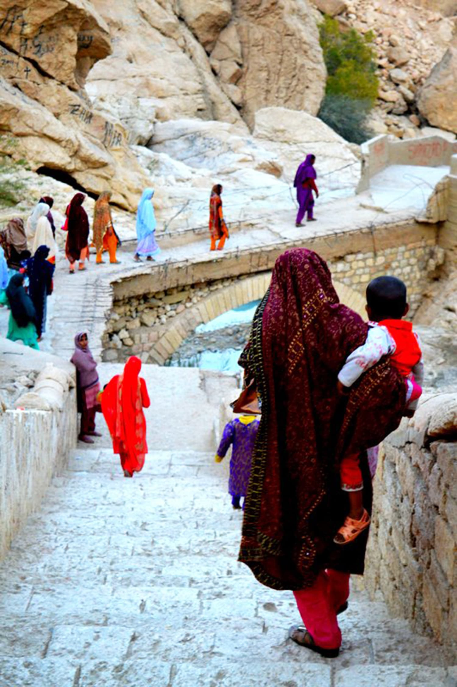 Balochi women returning from the cave.