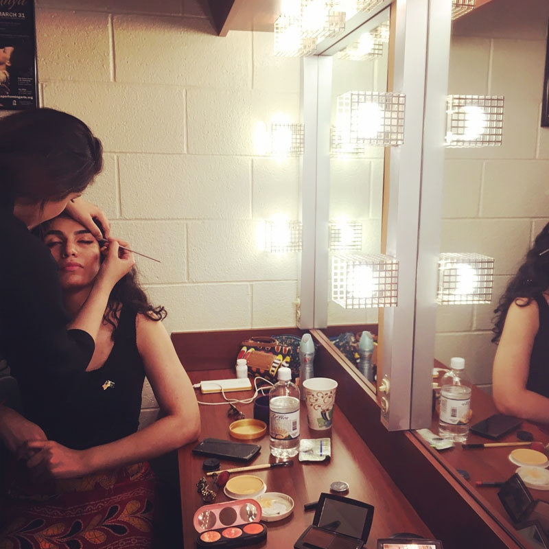 Nimra doing Iman's make-up before their performance at the Memorial Hall, University of North Carolina, Chapel Hill.
