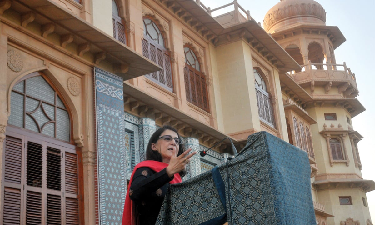 Dr Ayesha Jalal at the Mohatta Palace | Photo by Fahim Siddique, White Star