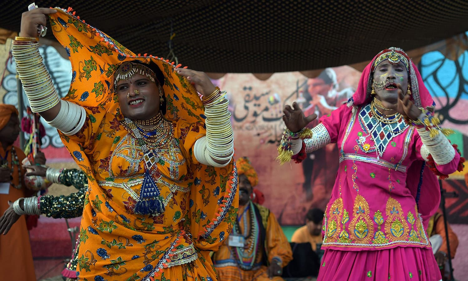 Pakistani folk artists from Cholistan perform the 'Marvati' dance. ─ AFP