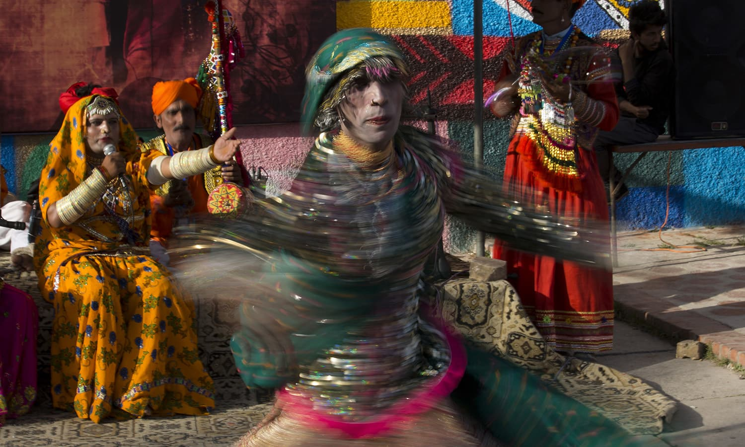 Folk artists from the Bheel nomad community perform at the Lok Virsa Festival ─ AFP