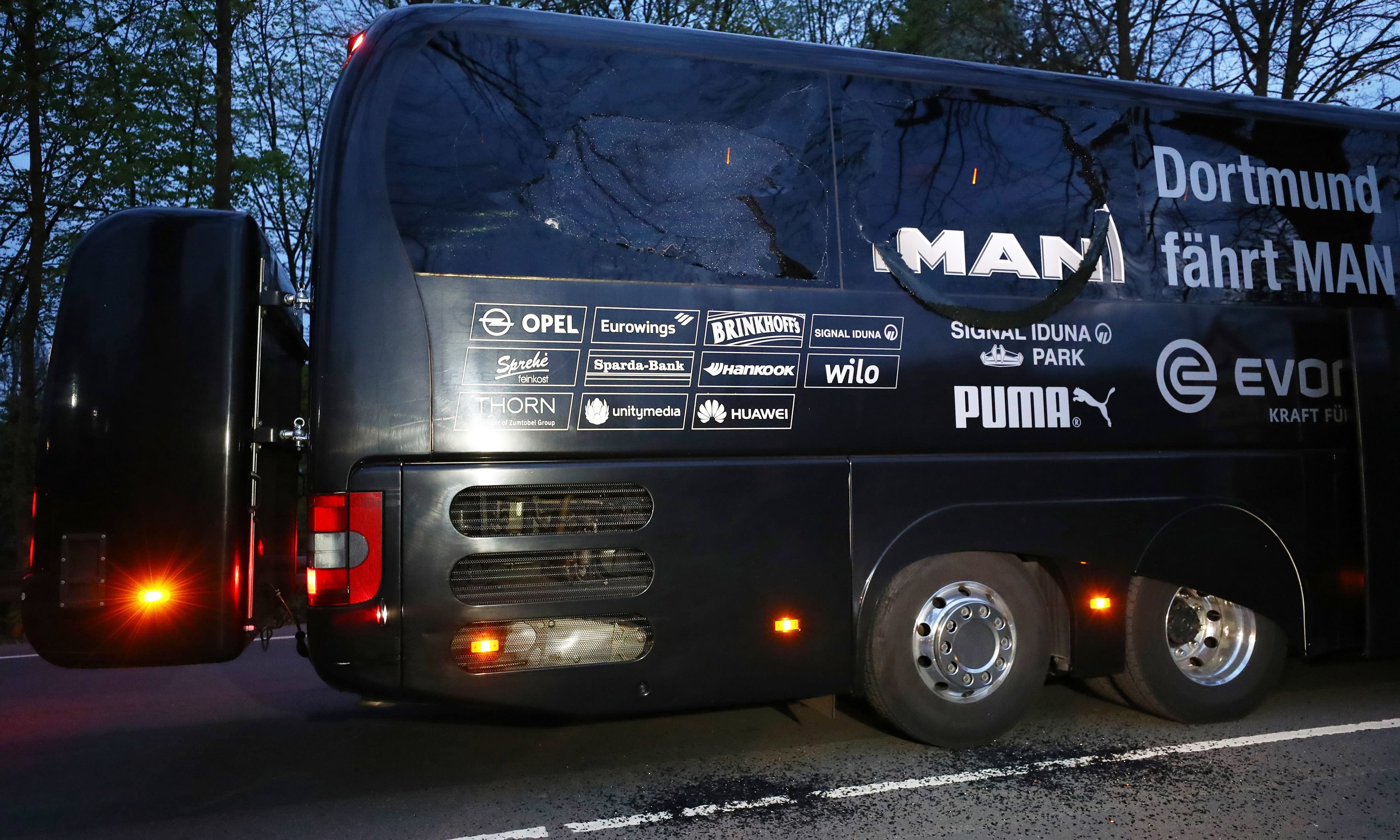 Dortmund team bus is seen after an explosion near their hotel before the game. —Reuters