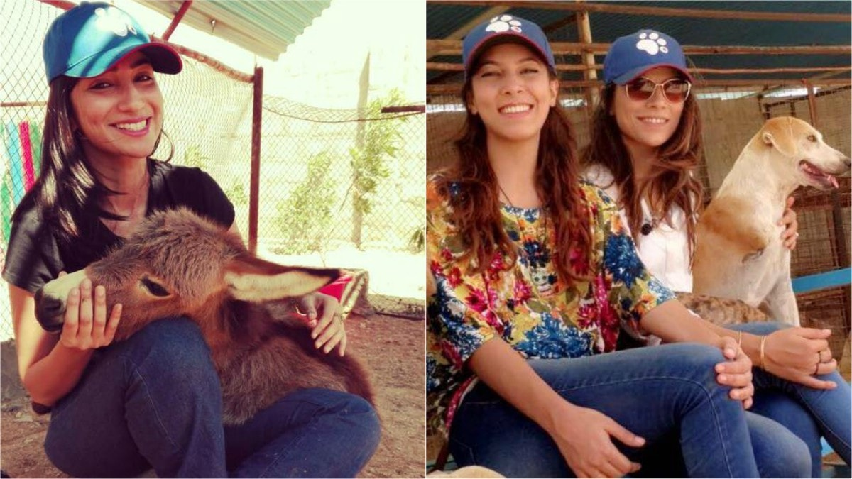 Celebrities like Anoushey Ashraf (L) and Rachel and Zoe Viccaji visit the shelter (R)