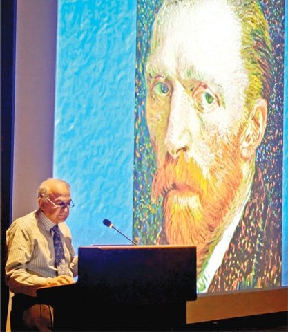 DR Jooma delivers the lecture with a painting of Van Gogh in the background.—White Star