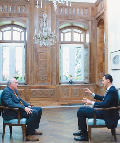 DAMASCUS: Syrian President Bashar al-Assad during an interview with AFP's Beirut bureau chief Sammy Ketz on Wednesday.—AFP
