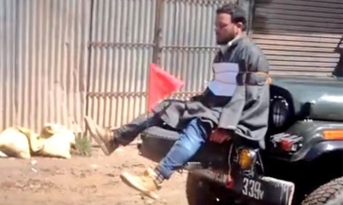 Video of Kashmiri youth tied to Indian Army jeep sparks outrage