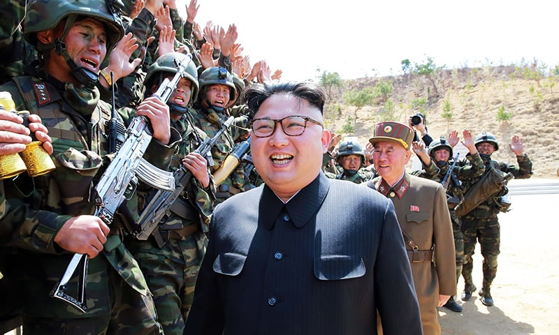 "North Korean leader Kim Jong-Un inspecting the ""Dropping and Target-striking Contest of KPA Special Operation Forces. -AFP"