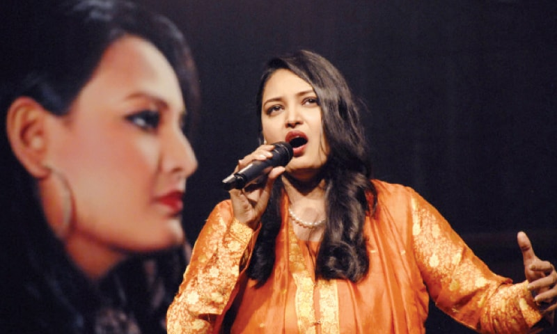 Opera singer Saira Peter sings at PNCA in Islamabad on Friday. — White Star