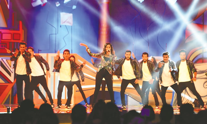 A group of artists perform at the award ceremony on Saturday night.—White Star