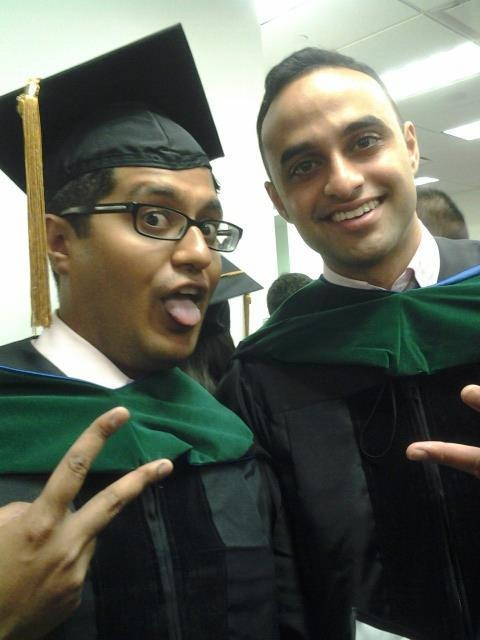Khurram Mehtabdin (left) and Omar Mirza (right) at their medical school graduation.