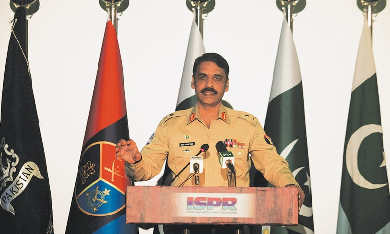 ISPR Director General Maj Gen Asif Ghafoor speaks during the news conference.—Reuters