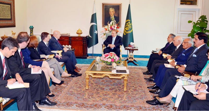 ISLAMABAD: Prime Minister Nawaz Sharif talks to US National Security Adviser Lt Gen H.R. McMaster who along with other members of a US delegation called on him at the PM House on Monday.—Online