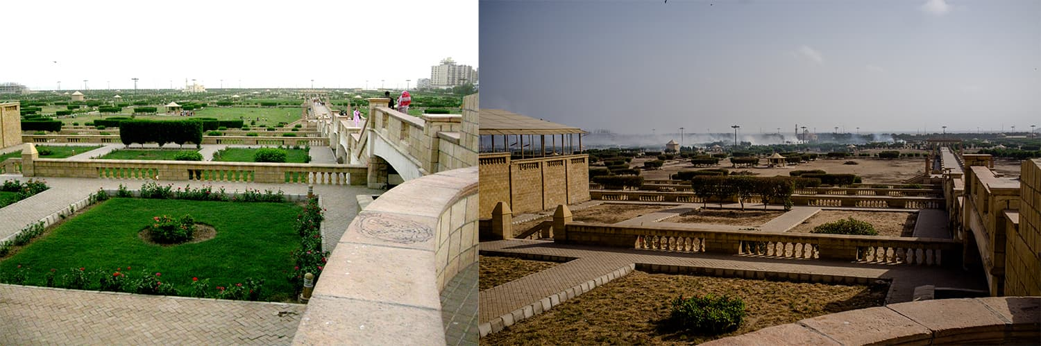 Identical views of the park, which was lush green before and is a wasteland today (right).—White Star