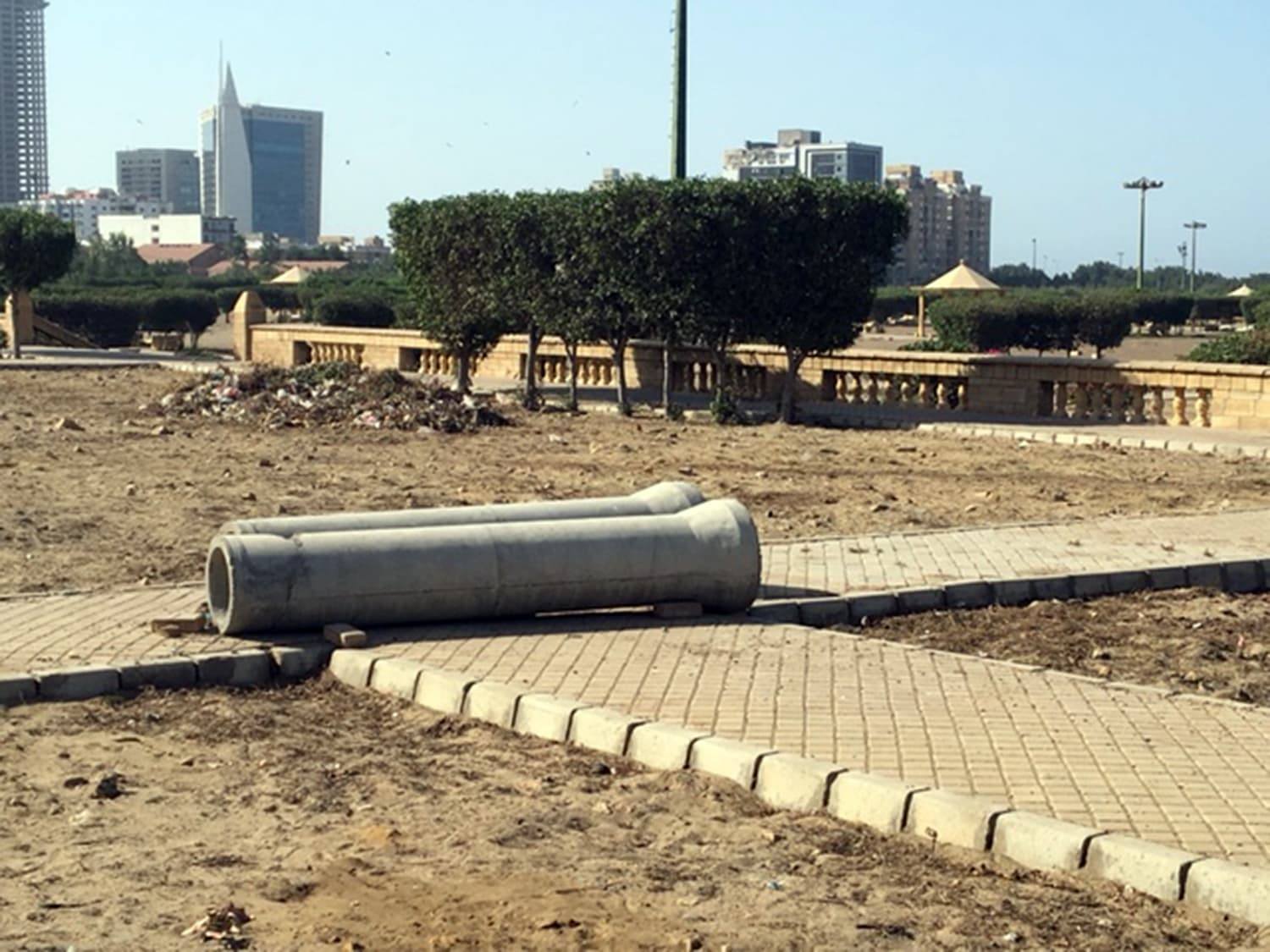 Manholes were constructed and a 1,000-metre long pipeline laid across Bagh Ibne Qasim, a public park, for the benefit of Bahria Icon Tower, a private venture.— White Star