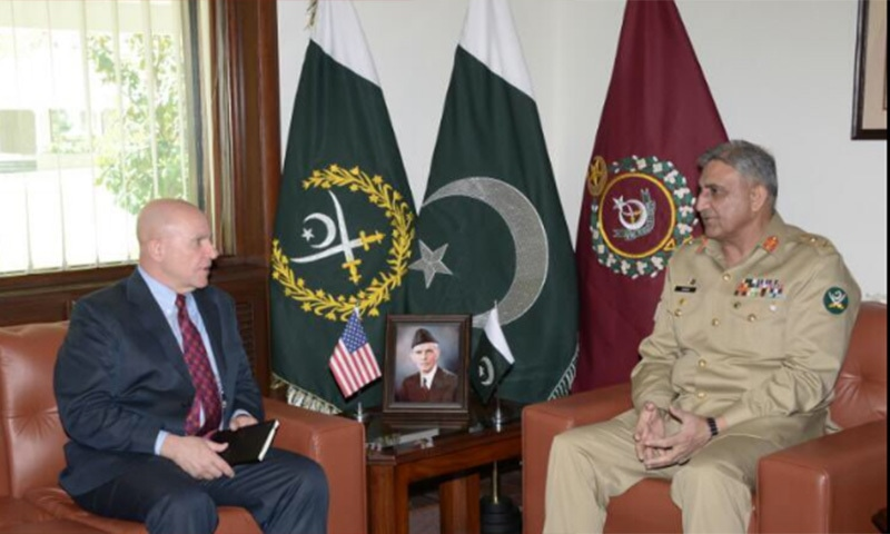 NSA General HR McMaster (R) in a meeting with Chief of Army Staff General Qamar Bajwa. ─ ISPR twitter