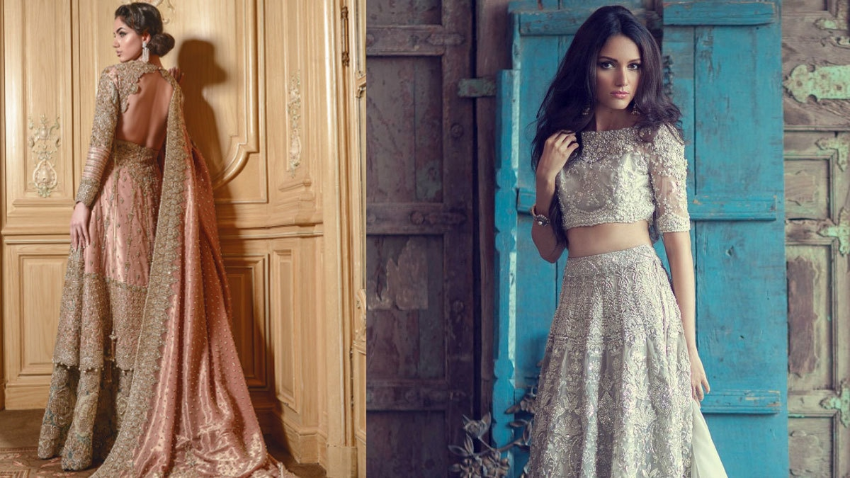 Faraz Manan bridal, left. Elan bridal, right.